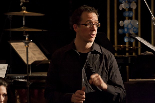 Percussionist Greg Beyer during the post-performance discussion