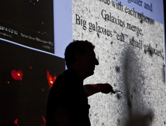 "Tom Geballe presents a talk titled ""Galaxies Behaving Badly"" at the Greenwood School (Photo: Zachary Stephens)"